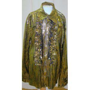70s Black & Gold Metallic Disco Shirt Ex Hire Fancy Dress Size L-XL
