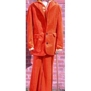 1970s Orange Velvet Disco Suit Ex Hire Fancy Dress Costume Size S