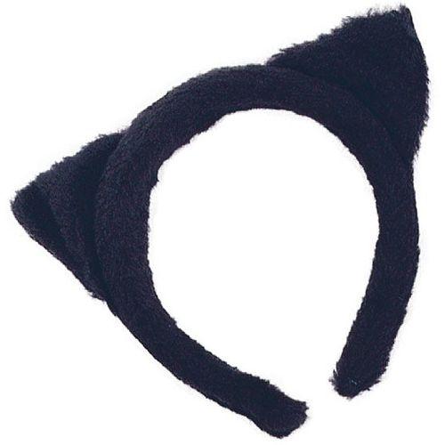 Black Fur Cat Ears On Headband For Halloween Fancy Dress