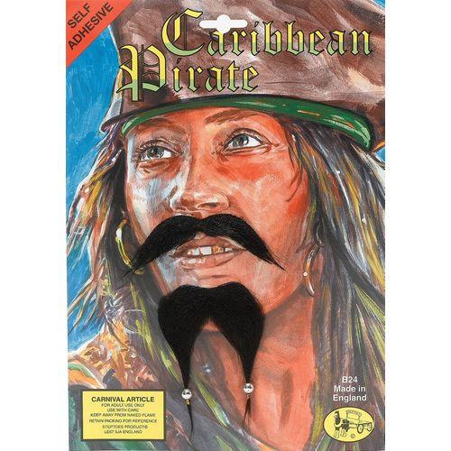 Caribbean Pirate Beard & Beaded Moustache Set Fancy Dress Costume Accessory