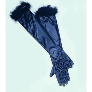 Opera Gloves (Black Satin With Marabou Trim)