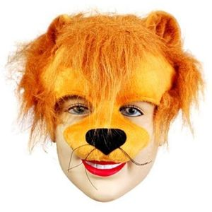 Lion Half Face Animal Mask On Headband
