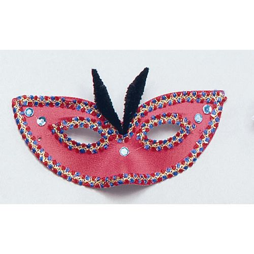 Fancy Dress And Halloween Devil FDomino Eyemask With Gold Braid And Fur Horns