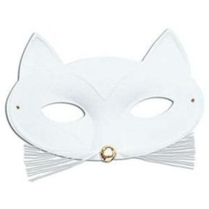 Cat Eye Mask With Whiskers Trim (White)