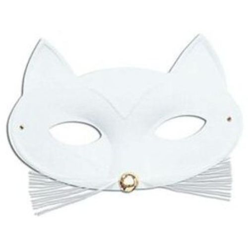 Fancy Dress Accessory White Cat Eye Mask With Whiskers Trim
