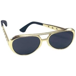 Elvis Style Rock & Roll Sun Glasses (Gold Frames)