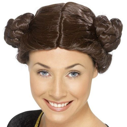 Fancy Dress Adult Star Wars Princess Leia Side Buns 1980`s Wig Brown