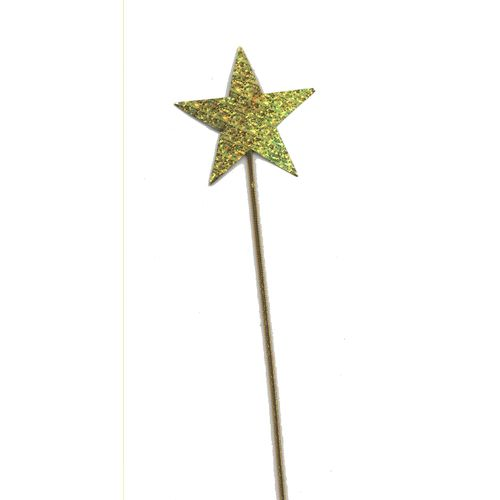 Gold Holographic Star Wand Fancy Dress Accessory