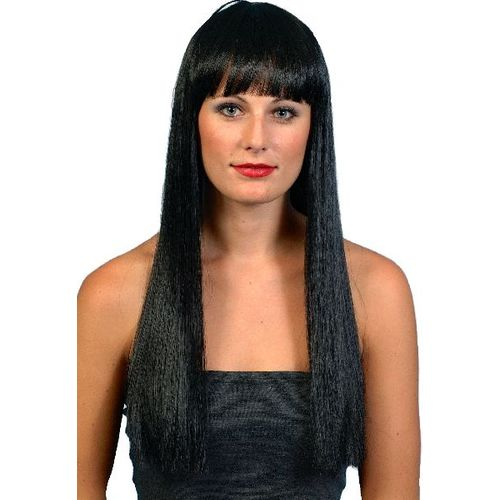 Fancy Dress Cher Long Straight Wig With Fringe Black
