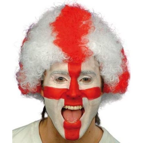 fancy dress England Football Supporters Pop Wig Red & White