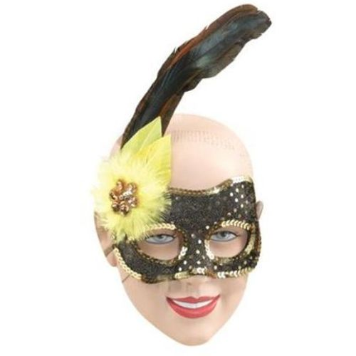 Fancy Dress Masquerade Sequin Side Feather Eye Mask (Gold & Black)