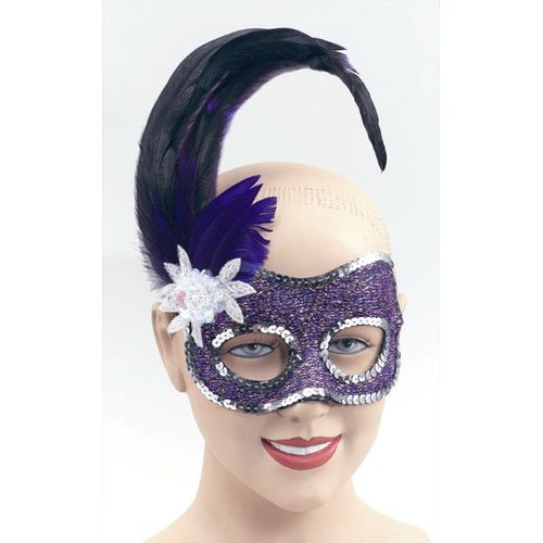 Fancy Dress Purple Masquerade Sequin Feather Mask