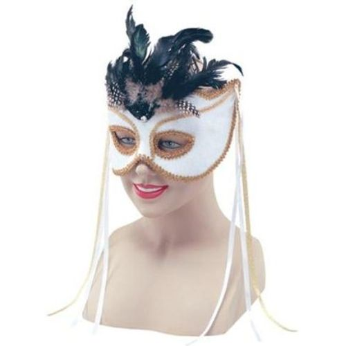 Fancy Dress Deluxe White Velvet With Feathers Masquerade Mask