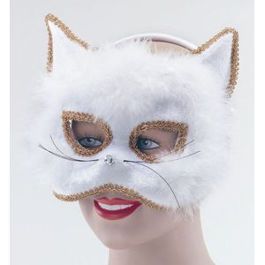 Cat Mask With Marabou Trim On Headband (White)