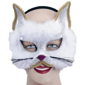 Glitter Cat Mask On Headband (White)