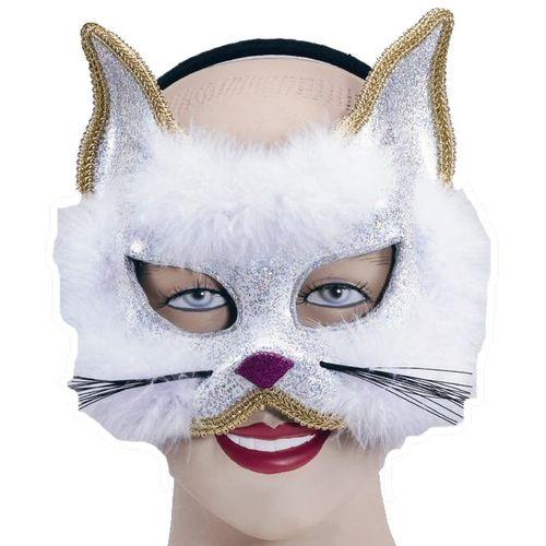 White Cat Animal Glitter Mask On Headband