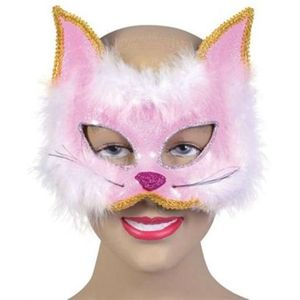 Glitter Cat Mask On Headband (Pink)