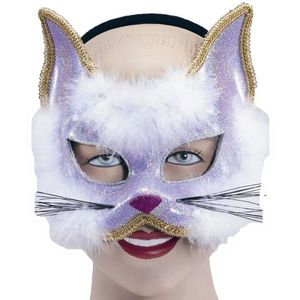 Glitter Cat Mask On Headband (Purple)