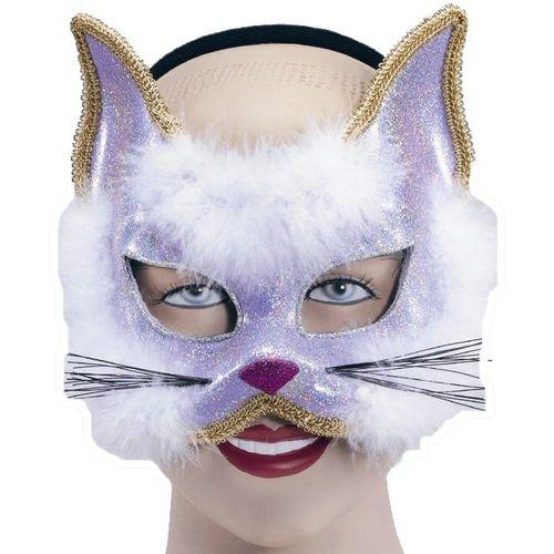 Purple Cat Glitter Animal Mask On Headband