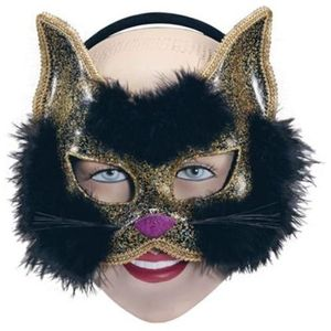 Glitter Cat Mask On Headband (Black)
