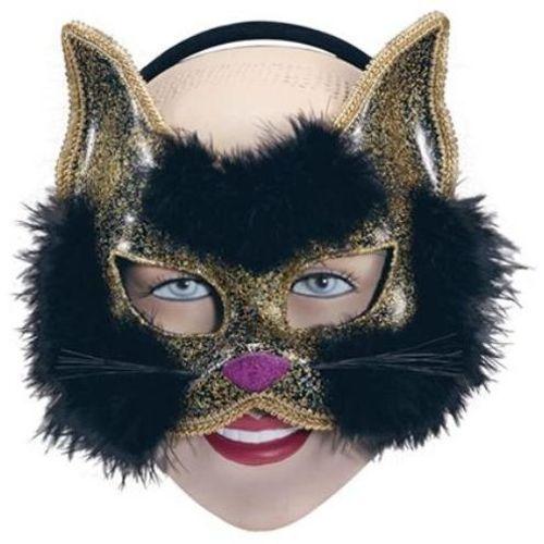 Black Glitter Cat Animal Mask On Headband