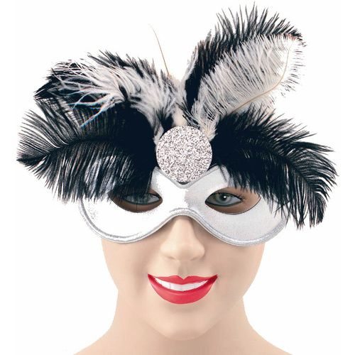 Fancy Dress Black & Silver Feather Domiono Masquerade Eye Mask