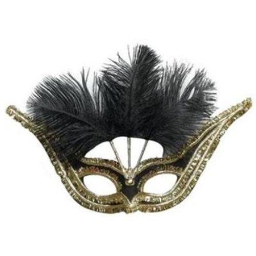 Fancy Dress Black Gran Gala Domino Masquerade Feather Eye Mask Adult