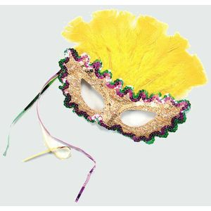 Female Mardi Gras Feather Eye Mask (Yellow)