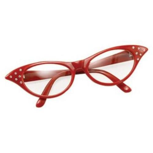 Ladies 50`s Style Red Fancy Dress Glasses