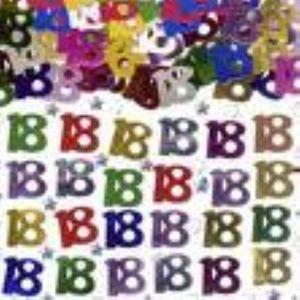 Number 18 Multi Coloured Foil Confetti