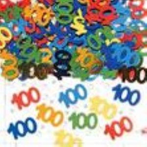 Number 100 Multi Coloured Foil Confetti