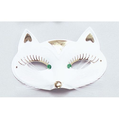 White Cat Eye Mask With Whiskers & Eyelash Trim Fancy Dress Accessory
