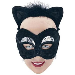 Cat Mask With Velour Ears On Headband (Black)