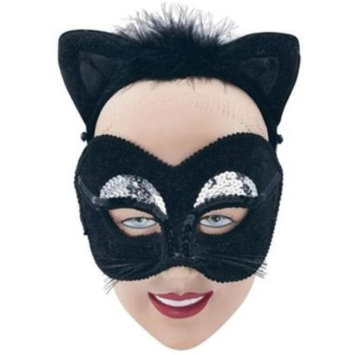 Black Cat Masquerade Mask With Velour Ears