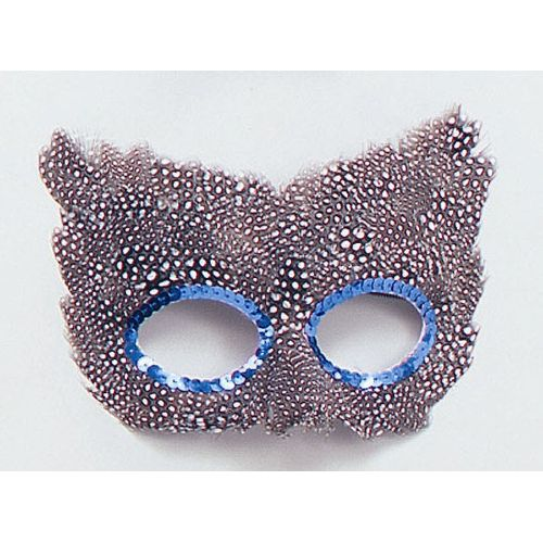 Fancy Dress Speckled Black & White Feather Eye Mask Adult