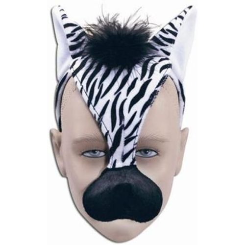 Fancy Dress Noisy Zebra Animal Mask On Headband