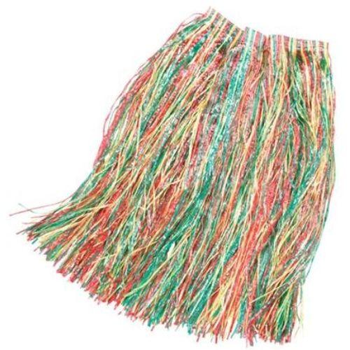 Long Multi Coloured Grass Skirt Approximatley 80cm Hawaiian Fancy Dress Costume Accessory
