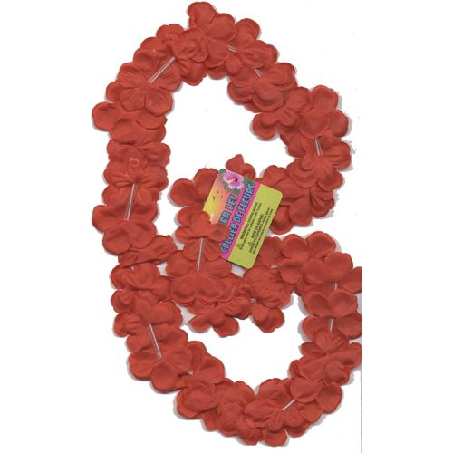 "Hawaiian Fancy Dress Lei Collier Flower Garland 40"" Approx. Red Flowers"