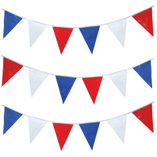 Bunting-Red White & Blue Flags 25 Flags Approx 7 Metres party accessory