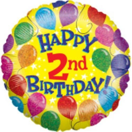 Happy 2nd Birthday Foil Balloon 18 inch party decoration