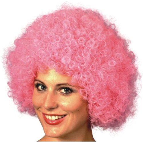 Fancy Dress Adult  Pink Pop Fun Afro Wig