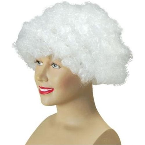 Fancy Dress Adult White Pop Fun Afro Wig