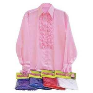 "Satin Ruffle Shirt (Pink) 50"" Chest"