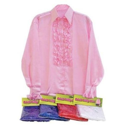 Fancy Dress 1970`S Disco Pink Satin Ruffle Shirt