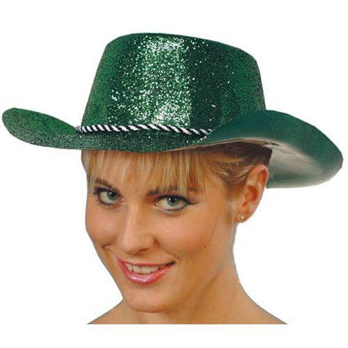 Green Glitter Cowboy Hat Fancy Dress Accessory