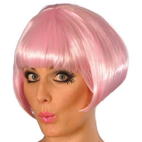 Fancy Dress Pink Short Bob Babe Hen Parties Wig