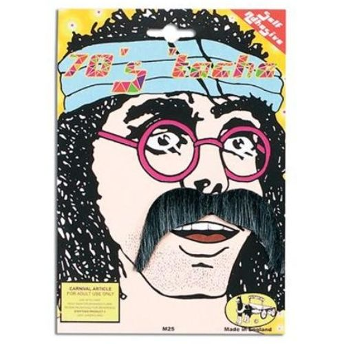 Black 70`s Style Moustache Fancy Dress Accessory