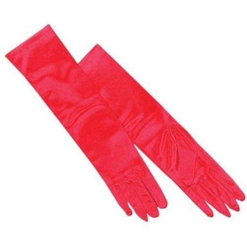 Red Satin Long Opera Gloves Fancy Dress Accessory