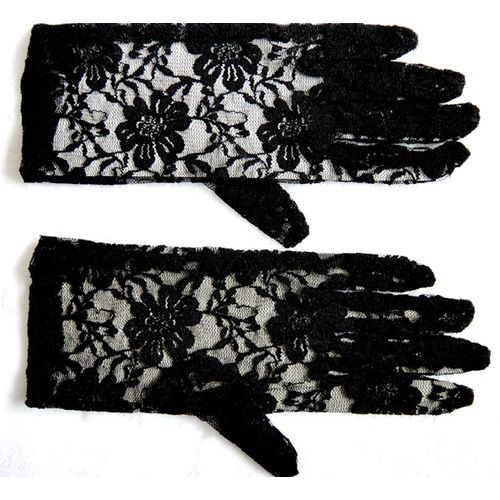 black lace 9 inch gloves fancy dress and halloween costume accessory