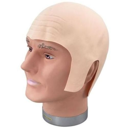 Rubber Bald Head With Wrinkled Forehead fancy dress and halloween costume accessory